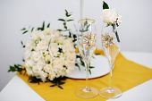 Wedding Glasses And Groom Boutonniere