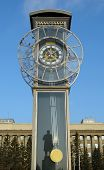 image of pendulum clock  - Transparent clock with a pendulum in a central square in Krasnoyarsk - JPG