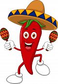 stock photo of sombrero  - Vector illustration of happy chili pepper dancing with maracas - JPG