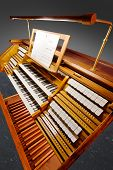 foto of pipe organ  - Vintage organ keyboard with clipping path on grey background - JPG