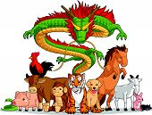 stock photo of chinese zodiac animals  - A vector set of all 12 chinese zodiac animals. Drawn in cartoon style, this vector is very good for design that needs animal or chinese zodiac element in cute, funny, colorful and cheerful style.  Available as a Vector in EPS8 format that can be scaled  - JPG