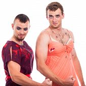 pic of transvestite  - Two transvestites showing muscles isolated on white background - JPG