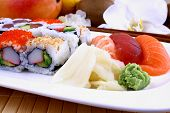 picture of chopsticks  - Assorted sushi with wasabi and chopsticks closeup - JPG