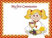 stock photo of eucharist  - a illustration for first communion for girl - JPG