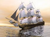 picture of sloop  - Close up of a beautiful detailed old merchant ship on the ocean by sunset light - JPG