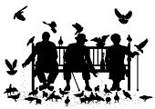 pic of pigeon  - Editable vector silhouettes of three elderly people on a park bench feeding pigeons with all elements as separate objects - JPG