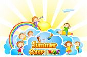 pic of kindergarten  - vector illustration of kid playing in summer camp poster - JPG