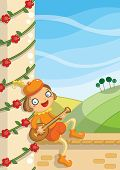 pic of minstrel  - digital illustrated medieval minstrel sing a story - JPG