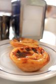 stock photo of pasteis  - Portuguese custard pastries called Pastel or Pasteis de Nata