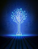 Vector circuit board background with blue electronic tree