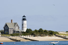 pic of cape-cod  - Wooden house and white lighthouse at Cape Cod near Portland - JPG