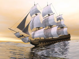 foto of sloop  - Close up of a beautiful detailed old merchant ship on the ocean by sunset light - JPG
