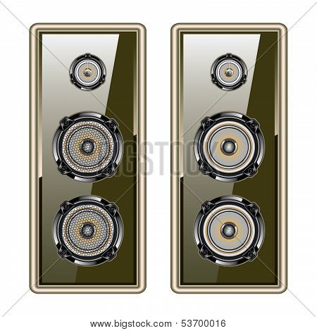 Audio Speaker. Golden Acoustic System. Isolated On White Background