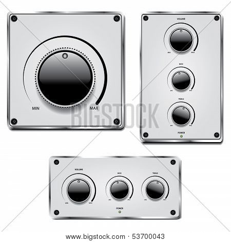 Fader And Volume Knob On Metal Plate Isolated On White
