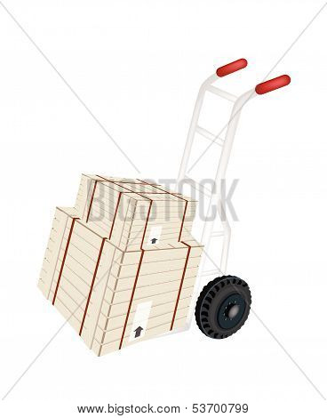 Hand Truck Loading Shipping Boxes With Steel Strapping