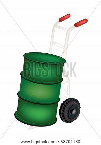 A Hand Truck Loading An Oil Tank