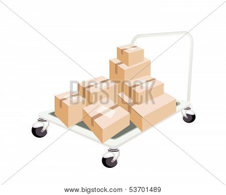 Hand Truck Loading Stack Of Shipping Boxes