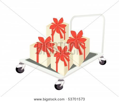 Hand Truck Loading A Lovely Gift Box