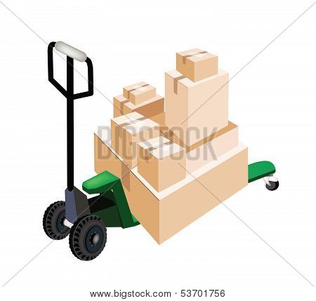 A Pallet Truck Loading Stack Of Shipping Boxes