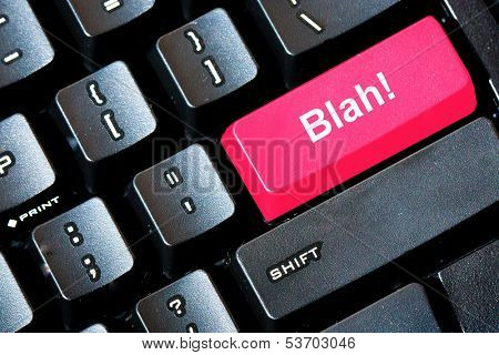 Red BLAH button on a computer keyboard