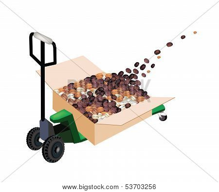 A Pallet Truck Loading Shipping Box With Coffee Beans