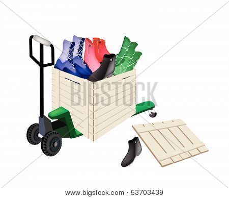 Pallet Truck Loading Women Shoes In Shipping Box