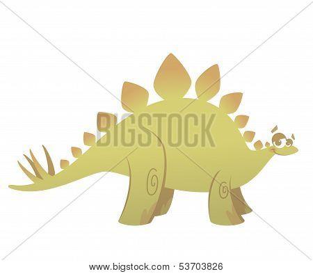 Cartoon Funny Green Stegosaurus Dinosaur