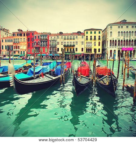 Gondolas on Grand Canal, Venice, Italy. Retro style
