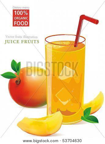 Fresh mango juice and mango fruit Isolated on White Background. Vector illustration