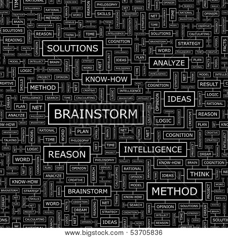 BRAINSTORM. Seamless pattern. Word cloud illustration. Vector illustration.