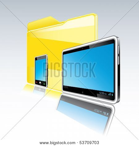 Folder With Abstract Monitor And  Smart Phone.  Isolated.