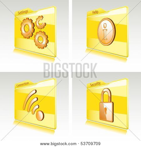 Set Of Folders With Abstract Icons For Computer Or Smart Phone.