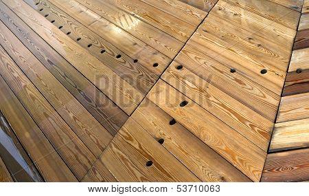 Wet Wooden Floor In Russian Baths