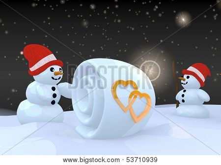 Two Snowman With Two Hearts Symbol