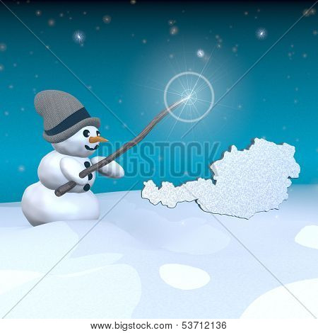 Snowman With Magic Wand And Austria Label
