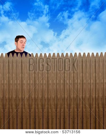 Nosey Neighbor Man Looking Over Fence