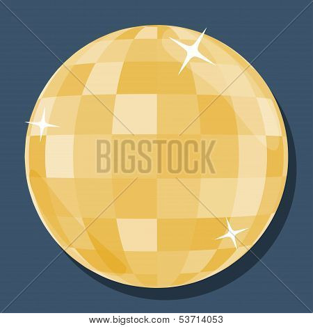 Vector Golden Disco Ball  In 'flat' Style