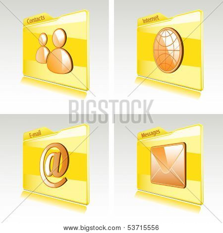 Set Of Folders With Abstract Icons