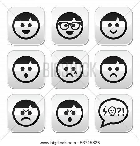 Man faces, avatar vector buttons set