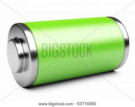 3D Illustration Of Green Battery