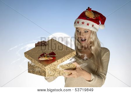 Surprised Girl Opening Christmas Box
