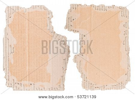Two Pieces Of Brown Corrugated Cardboard