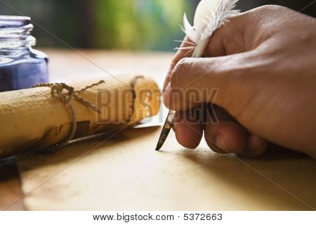 Hand Writing Using Quill Pen