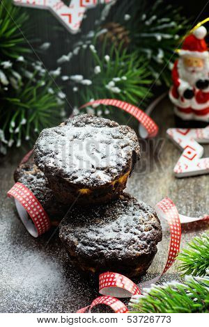 Chocolate muffins with Christmas decorations