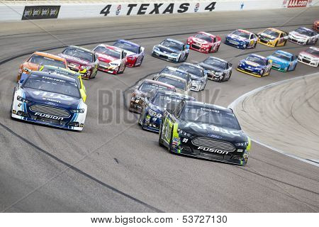 Ft Worth, TX - Nov 03, 2013:  The NASCAR Sprint Cup teams take to the track for the AAA Texas 500 race at the Texas Motor Speedway in Ft Worth, TX on Nov 03, 2013.