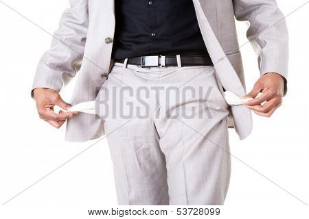 Male businessman showing open pockets. Isolated on white.