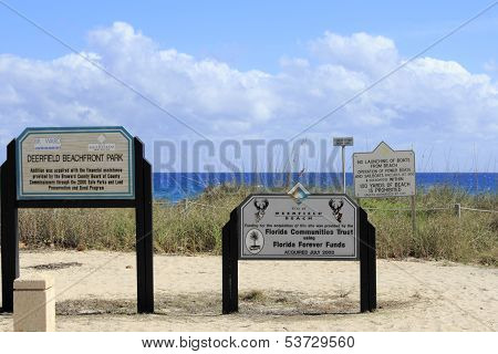 Signs At Deerfield Beachfront Park