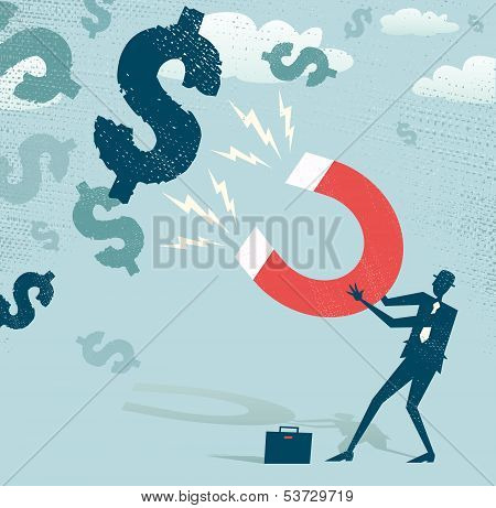 Abstract Businessman Catches Dollars With Money Magnet