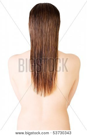 Woman's back. Long hair.Isolated on white. Back view.