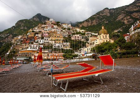 View of Positano from beach